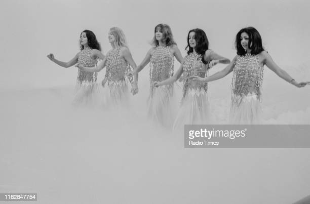 Dance troupe Pan's People Louise Clarke Babs Lord Deedee Wilde Cherry Gillespie and Ruth Pearson performing on the BBC television show 'Top of the...