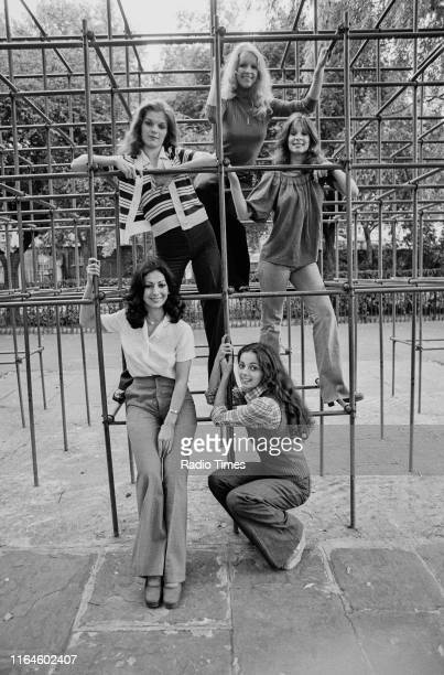 Dance troupe Pan's People Ruth Pearson Sue Menhenick Babs Lord Deedee Wilde and Cherry Gillespie posing on a climbing frame in the park during...