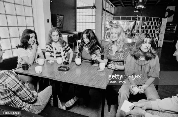 Dance troupe Pan's People Ruth Pearson Sue Menhenick Cherry Gillespie Babs Lord and Deedee Wilde taking a break during rehearsals for the BBC...