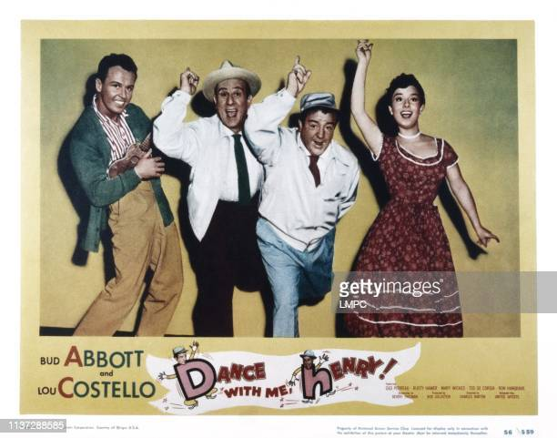 Dance With Me lobbycard HENRY from left Ron Hargrave Bud Abbott Lou Costello Gigi Perreau 1956