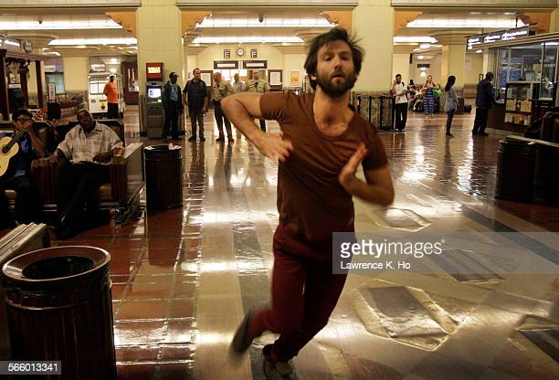 Dancer Aaron Carr during dress rehearsal of the opera Invisible Cities in Union Station in Los Angeles on Oct 17 2013 Invisible Cities The Industry's...