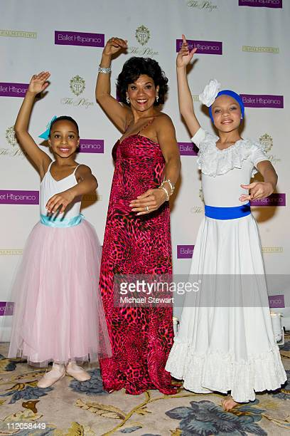 Dancer Abigail Cedano, honree Sonia Manzano and dancer Giarra Harris attend the Ballet Hispanico 40th Anniversary Spring Gala at Manhattan Center...