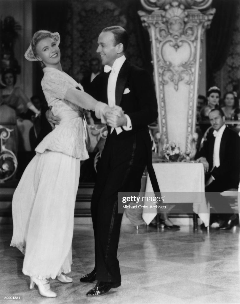 Dancer, actor and singer Fred Astaire (1899 - 1987) and Ginger Rogers in a scene fom the RKO musical 'The Story of Vernon and Irene Castle' in 1939 in Los Angeles, California.