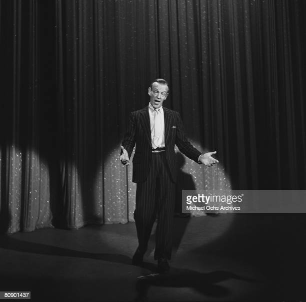 "Dancer, actor and singer Fred Astaire performs ""That Face"" on the Ed Sullivan Show on April 7, 1957 in New York City, New York."