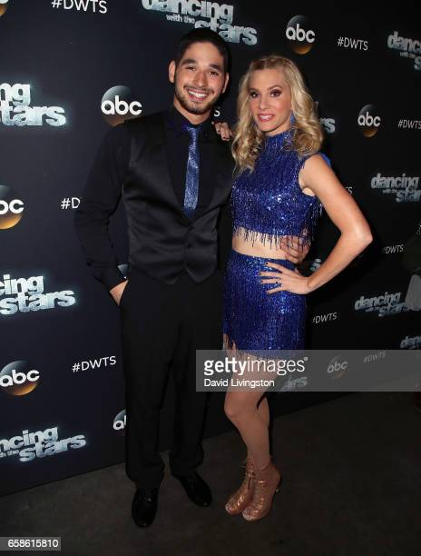 Dancer Alan Bersten and actress Heather Morris attend 'Dancing with the Stars' Season 24 at CBS Televison City on March 27 2017 in Los Angeles...