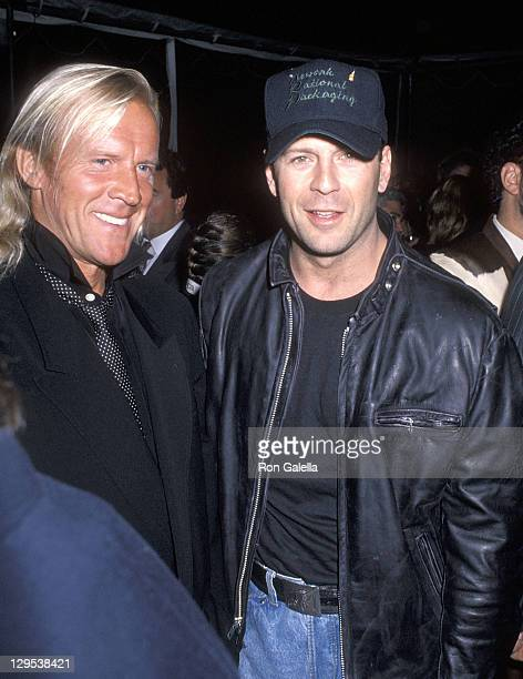 Dancer Alexander Godunov and actor Bruce Willis attend the Vanity Fair 'Just Say Yes' Celebration to Benefit the Phoenix House on March 22 1990 at...