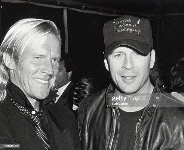 Dancer Alexander Godunov and actor Bruce Willis attend Vanity Fair's Just Say Yes Benefit for Phoenix House on March 22 1990 at Culver Studios in...