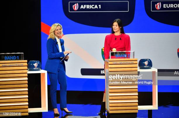 Dancer, Alice Renavand is interviewed during the Rugby World Cup France 2023 draw at Palais Brongniart on December 14, 2020 in Paris, France