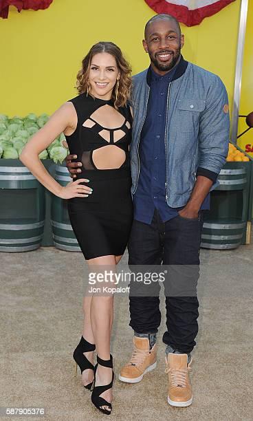 Dancer Allison Holker and husband dancer Stephen tWitch Boss arrive at the Los Angeles Premiere Sausage Party at Regency Village Theatre on August 9...