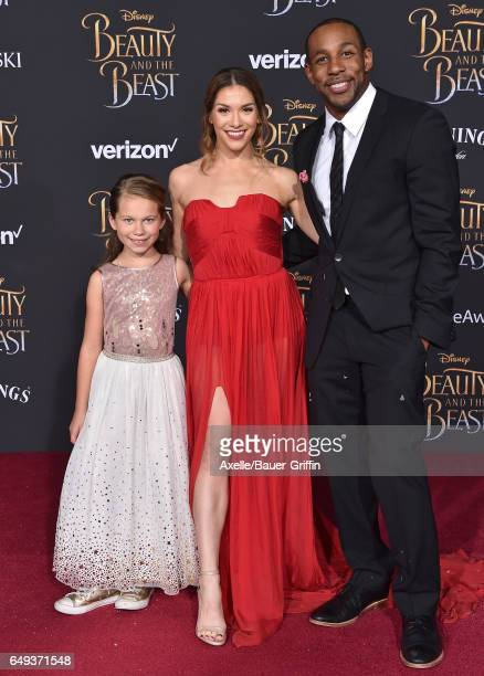 Dancer Allison Holker daughter Weslie Fowler and dancer Stephen 'tWitch' Boss arrive at the Los Angeles Premiere of 'Beauty and the Beast' at El...