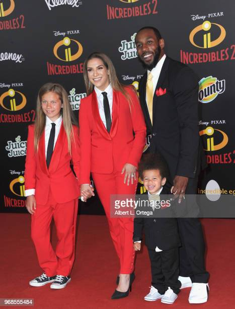 Dancer Allison Holker husband Stephen Boss daughter Weslie Fowler and son Maddox Laurel Boss arrive for the Premiere Of Disney And Pixar's...