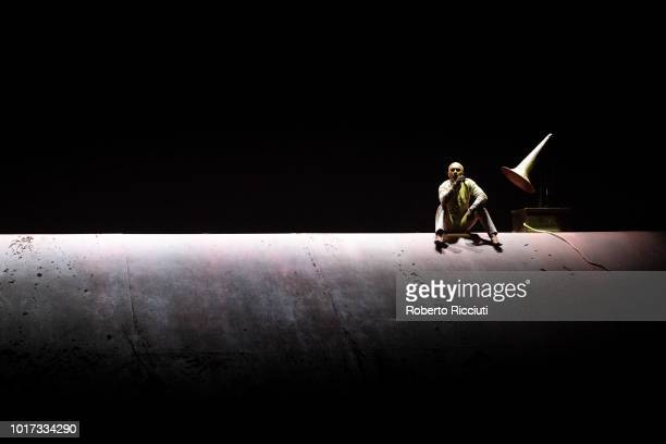 Dancer and choreographer Akram Khan performs 'Xenos' on stage during a photocall for the Edinburgh International Festival 2018 at Festival Theatre on...