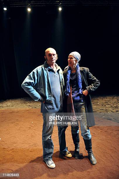 US dancer and choreographer Carolyn Carlson and founder of the unique French equestrian theater Zingaro horseman Bartabas pose on May 26 2011 in...