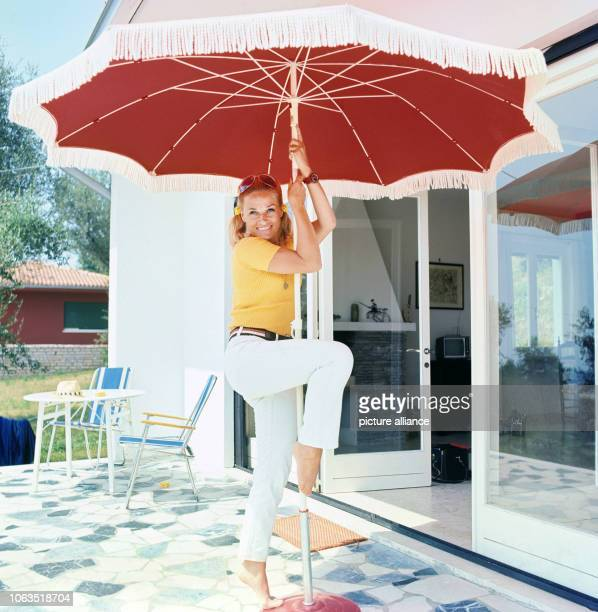 Dancer and choreographer Irene Mann at her holiday home in Bardolino at Lake Garda in Italy, on holiday in July 1969. The house is called 'Casa...