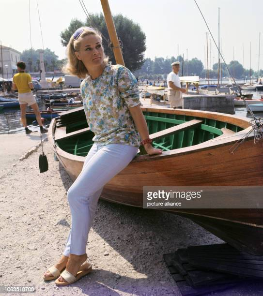 Dancer and choreographer Irene Mann on holiday, in July 1969, in Bardolino at Lake Garda in Italy. Irene Mann was a dancer, an actress, and...