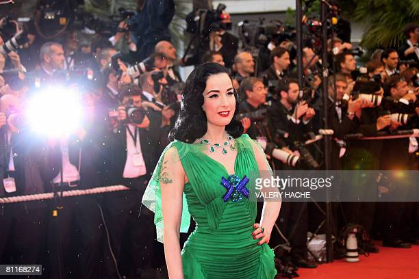 US dancer and pinup model Dita Von Teese poses as she arrives to attend the screening of US actor and director Clint Eastwood's film 'The Exchange'...