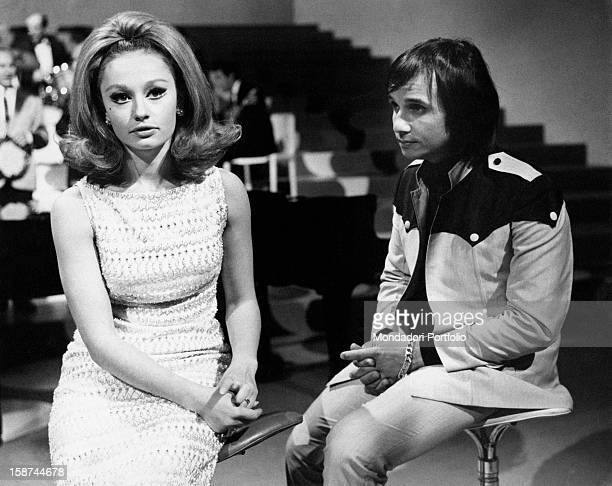 Dancer and presenter Raffaella Carrà with Brasilian singer Roberto Carlos during the TV programme Tempo di samba Rome 1967