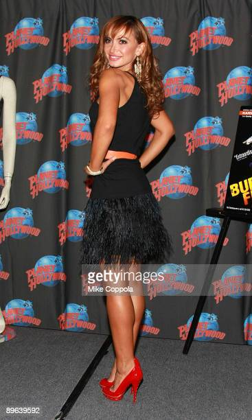 Dancer and TV personality Karina Smirnoff visits Planet Hollywood Times Square on August 6, 2009 in New York City.