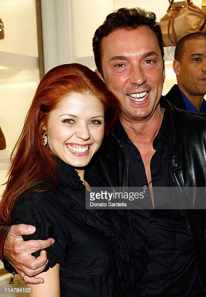 Dancer Anna Trebunskaya and TV personality Bruno Tonioli attend the celebration of Olympic gold medalist Evan Lysacek's victory at Ralph Lauren on...
