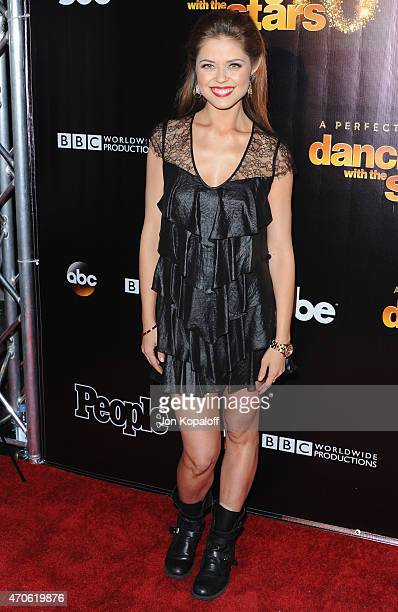 Dancer Anna Trebunskaya arrives at the 10th Anniversary Of 'Dancing With The Stars' Party at Greystone Manor on April 21 2015 in West Hollywood...