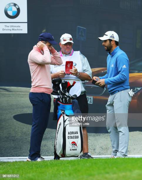Dancer Anton du Beke and Adrian Otaegui of Spain in discussion on the 18th tee during the BMW PGA Championship Pro Am tournament at Wentworth on May...
