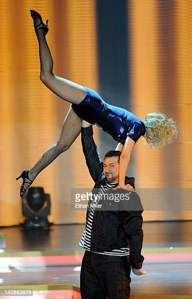 Dancer Anya Garnis and entertainer Joey Fatone perform during the grand opening of Dancing With the Stars Live in Las Vegas at the New Tropicana Las...