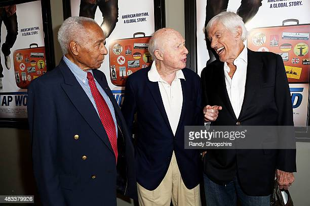 Dancer Arthur Duncan actors Norman LLoyd and Dick Van Dyke attend the screening of 'Tap World' at Nuart Theatre on August 7 2015 in West Los Angeles...