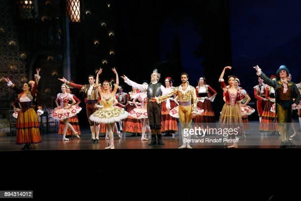 Dancer Audric Bezard Star dancer Ludmila Pagliero Dancer Yann Chailloux Star dancer Mathias Heymann and Dancers acknowledge the applause of the...