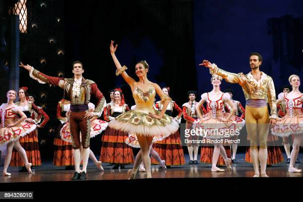 Dancer Audric Bezard Star dancer Ludmila Pagliero Star dancer Mathias Heymann and Dancers acknowledge the applause of the audience at the end of 'Don...
