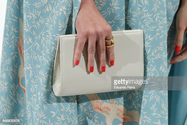 Dancer Beatriz Luengo handbag detail attends the 'Yo Dona MBFW opening party' photocall at Barcelo hotel on September 13 2017 in Madrid Spain