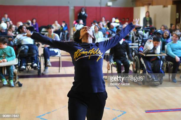 Dancer Belen PereyraAlem from the Alvin Ailey American Dance Theater participates in a special performance for students with cognitive and physical...