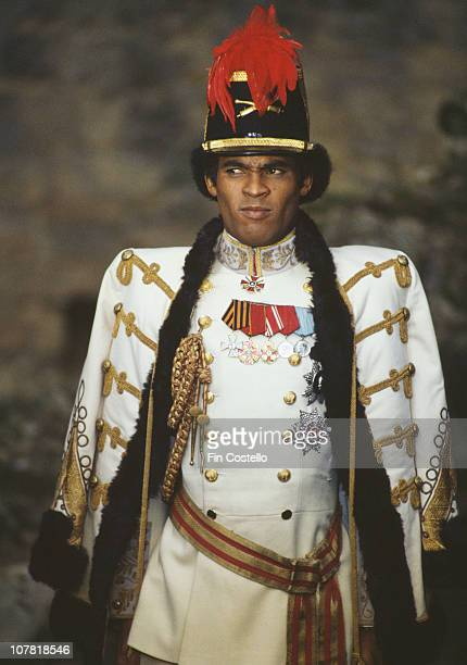 Dancer Bobby Farrell of pop group Boney M wearing a military outfit circa 1985