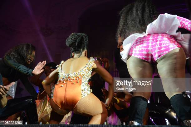 Dancer Bontle Modiselle and Gqom and House music sensation Busiswa during the 10th annual Feather Awards at the Johannesburg City Hall on November 15...