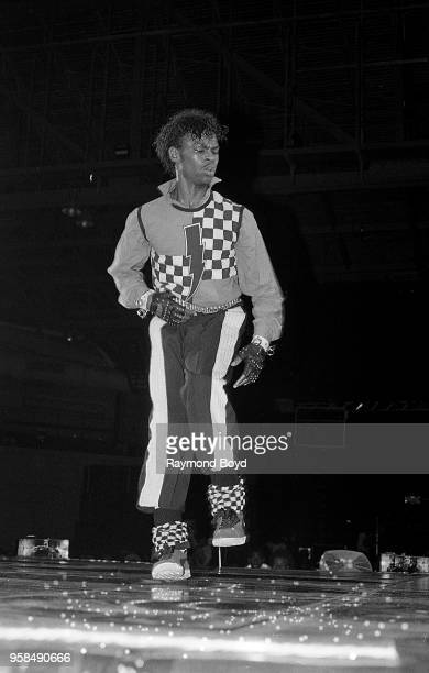 Dancer Boogaloo Shrimp performs at the UIC Pavilion in Chicago Illinois in October1985