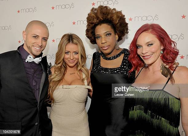 Dancer Brian Friedman singer/dancer Aubrey O'Day singer Macy Gray and actress Carmit Bachar arrive at Glamorama presented by Macy's Passport at...