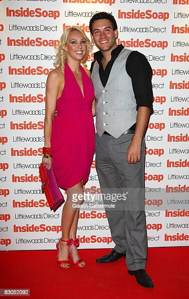 Dancer Camilla Dallerup and actor Kevin Sacre pose in the press room for the Inside Soap Awards 2008 at Gilgamesh Camden Lock on September 29 2008 in...