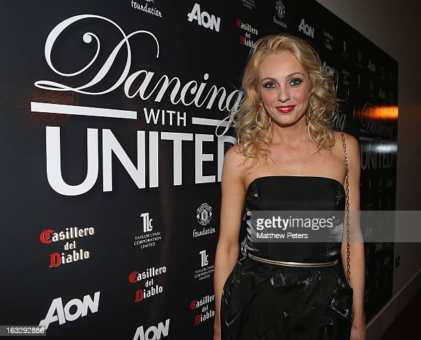 Dancer Camilla Dallerup arrives at Dancing for United a ballroom dancing event in aid of the Manchester United Foundation at Old Trafford on March 7...