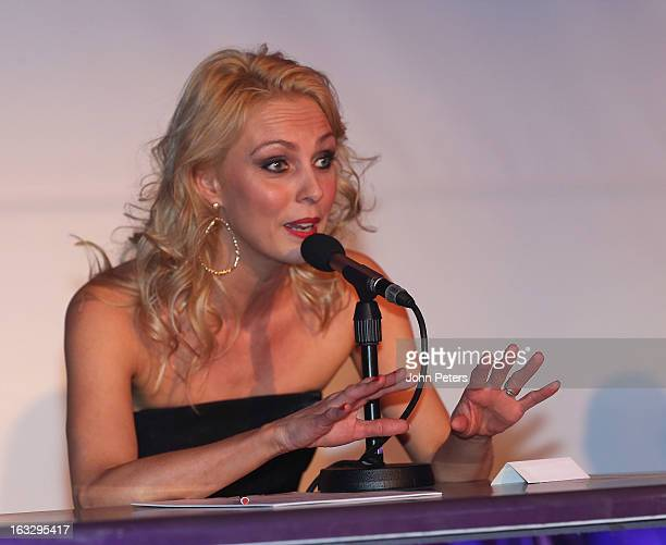 Dancer Camilla Dallerup watches from the judges panel as part of Dancing with United, in aid of the Manchester United Foundation, at Old Trafford on...