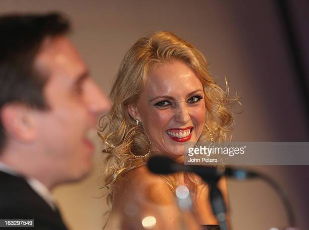 Dancer Camilla Dallerup watches from the judges panel as part of Dancing with United in aid of the Manchester United Foundation at Old Trafford on...