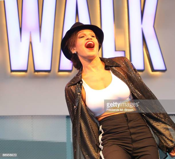 Dancer Camille Cardinali performs during the Universal MoonWalk tribute to Michael Jackson at Universal CityWalk on July 9 2009 in Universal City...