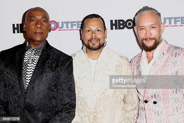 Dancer Carlton Wilborn actor Luis Camacho and dancer Kevin Stea attend the Outfest 2016 Screening of Strike A Pose held at Harmony Gold Theatre on...
