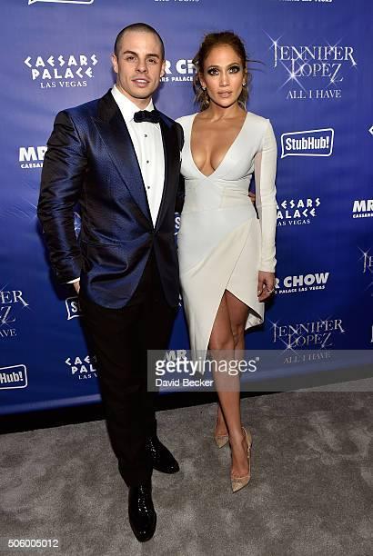 Dancer Casper Smart and singer/actress Jennifer Lopez arrive at the after party for her residency 'JENNIFER LOPEZ ALL I HAVE' and the grand opening...
