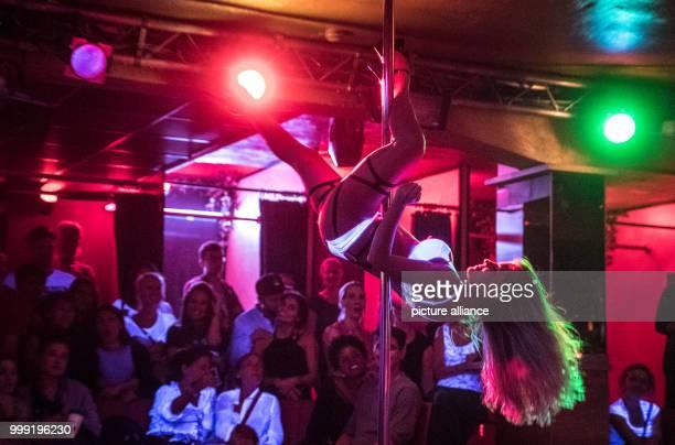 Dancer Chantal poledancing in the Pure Platinum club during the Bahnhofsviertelnacht in the redlight district of Frankfurt am Main Germany 17 August...