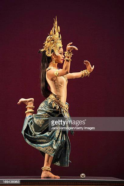 Dancer Chap Chamroeuntola , of the Royal Ballet of Cambodia, performs in 'The Churning of the Sea of Milk' as part of the BAM/Seasons of Cambodia...