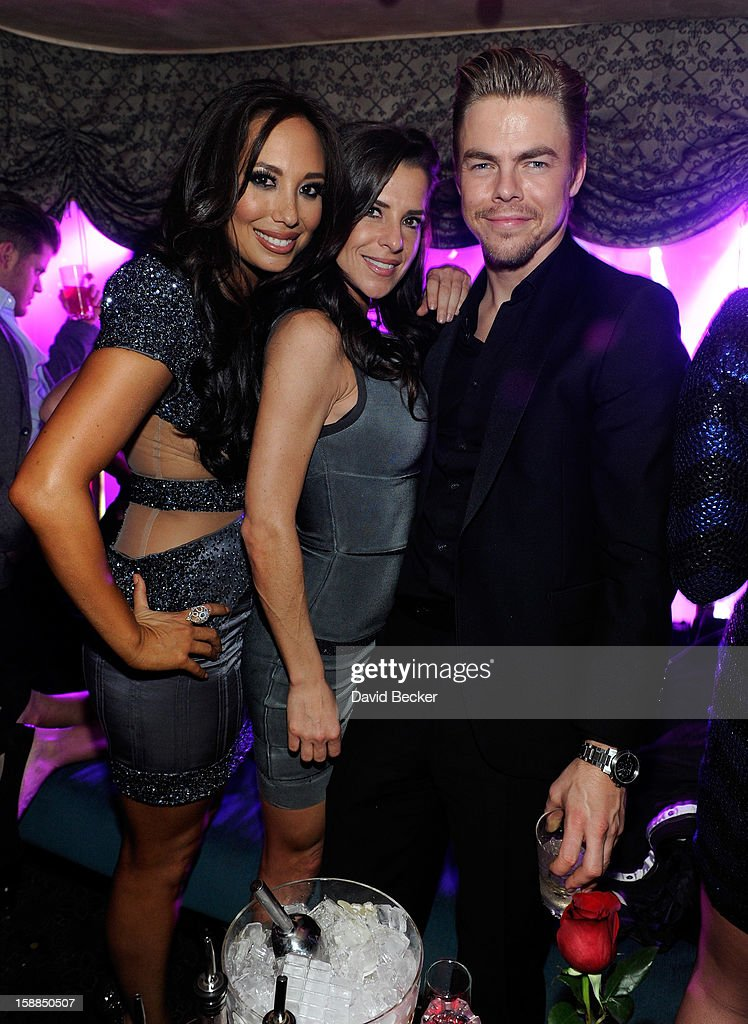 Dancer Cheryl Burke, actress Kelly Monaco and dancer Derek Hough celebrate New Year's Eve at The Act at The Palazzo on December 31, 2012 in Las Vegas, Nevada.
