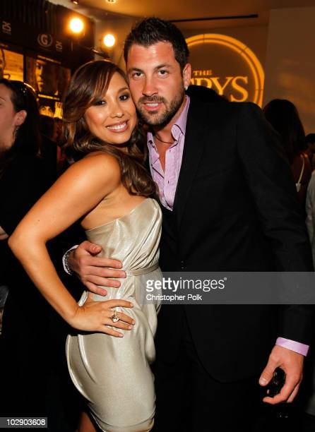 Dancer Cheryl Burke and dancer Maksim Chmerkovskiy pose backstage at the 2010 ESPY Awards at Nokia Theatre LA Live on July 14 2010 in Los Angeles...