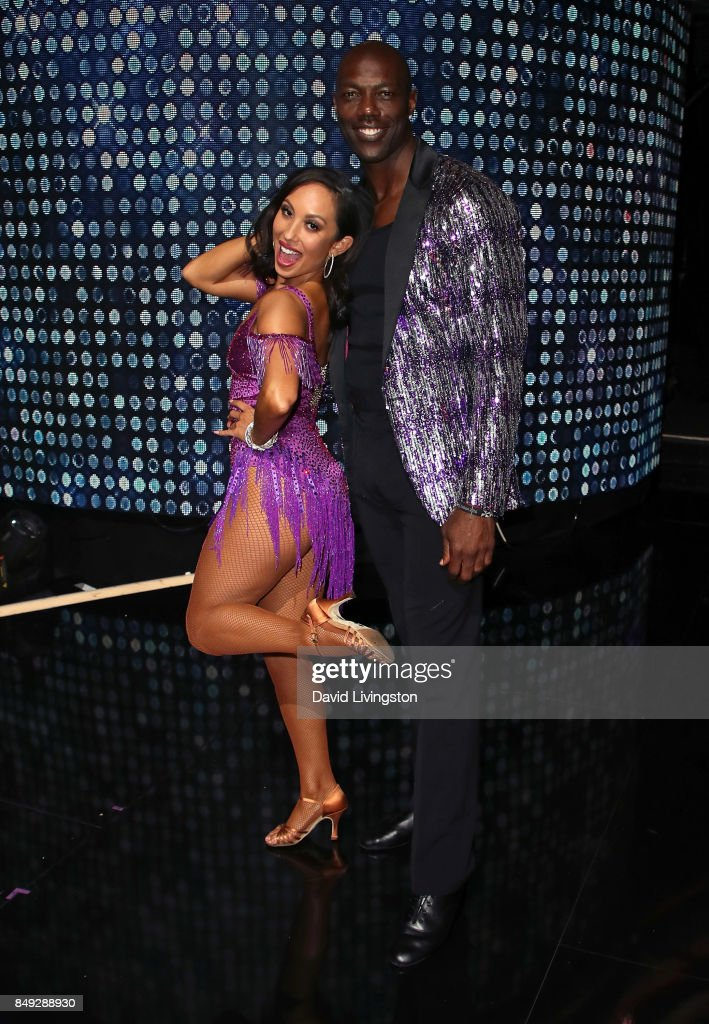 Dancer Cheryl Burke (L) and former NFL player Terrell Owens attend 'Dancing with the Stars' season 25 at CBS Televison City on September 18, 2017 in Los Angeles, California.