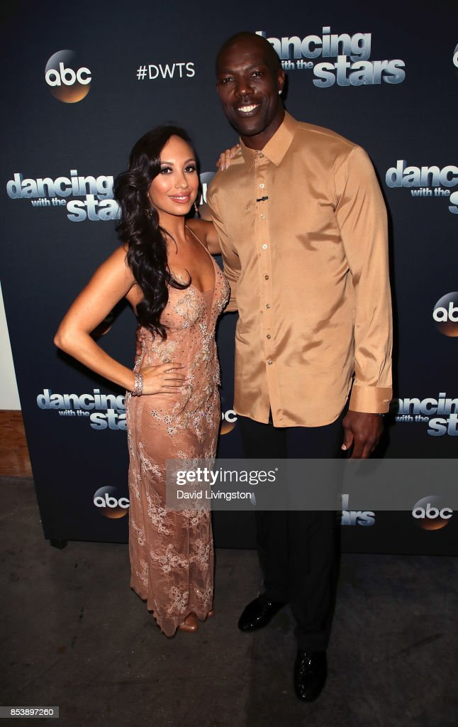 Dancer Cheryl Burke (L) and former NFL player Terrell Owens attend 'Dancing with the Stars' season 25 at CBS Televison City on September 25, 2017 in Los Angeles, California.