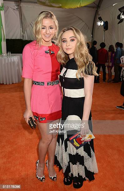 Dancer Chloe Lukasiak and actress Sabrina Carpenter attend Nickelodeon's 2016 Kids' Choice Awards at The Forum on March 12 2016 in Inglewood...