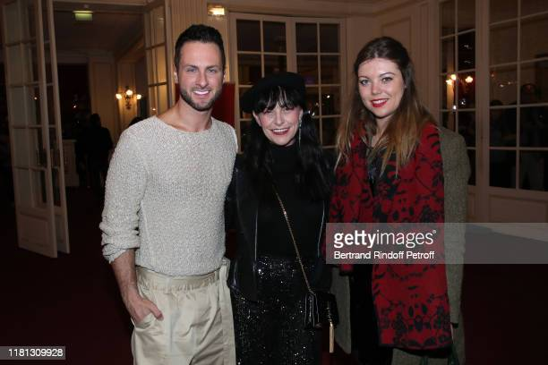 Dancer Christian Millette singer Lio and actress Heloise Martin attend the Palace Theater Play at Theatre de Paris on October 15 2019 in Paris France